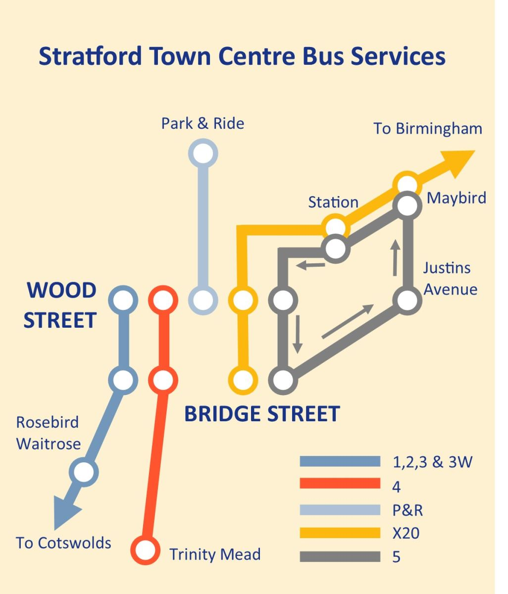 Stratford Town Centre bus service map